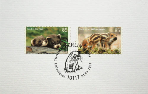 Niedliche Tierkinder erblicken das Licht der Briefmarken-Welt